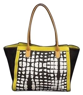 Kate Landry Yellow Tote in Black Neon White