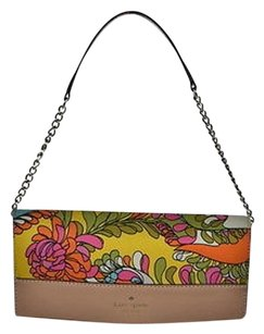 Kate Spade Womens Yellow Floral Textile Handbag Baguette