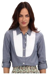 Kate Spade Chambray Bib Button Down Shirt Blue