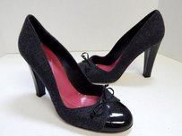 Kate Spade Italy B Wool Black Patent Leather Toe B Gray Pumps