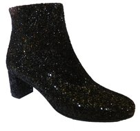 Kate Spade Glitter Leather Sequin Ankle Party Black Boots