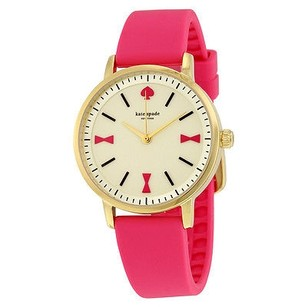 Kate Spade Kate Spade Crosby Bow Marker Gold Dial Pink Silicone Ladies Watch