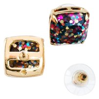Kate Spade NEW Kate Spade New York Multicolor Glitter Square Studs - 12k Gold