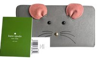 Kate Spade NWT Kate Spade Cat's Meow MOUSE Lacey Zip Around Wallet GRAY