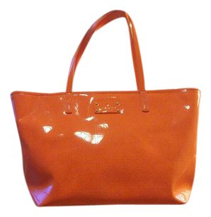 Kate Spade Patent Leather Perforated Bright Summer Tote in Neon Orange