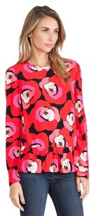 Kate Spade Peplum Fitted Rose Top Red