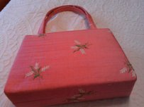 Other Satchel in pink raw silk with floral embroidery evening bag