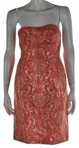 Kate Spade Womens Printed Rayon Strapless Sheath Above Knee Dress