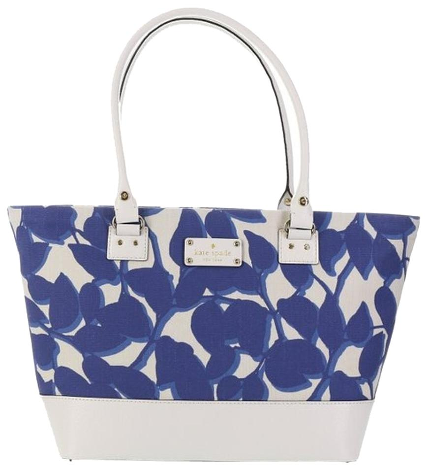 Kate Spade Fabric Leather Harmony Leaves Blue & White Tote Bag on ...
