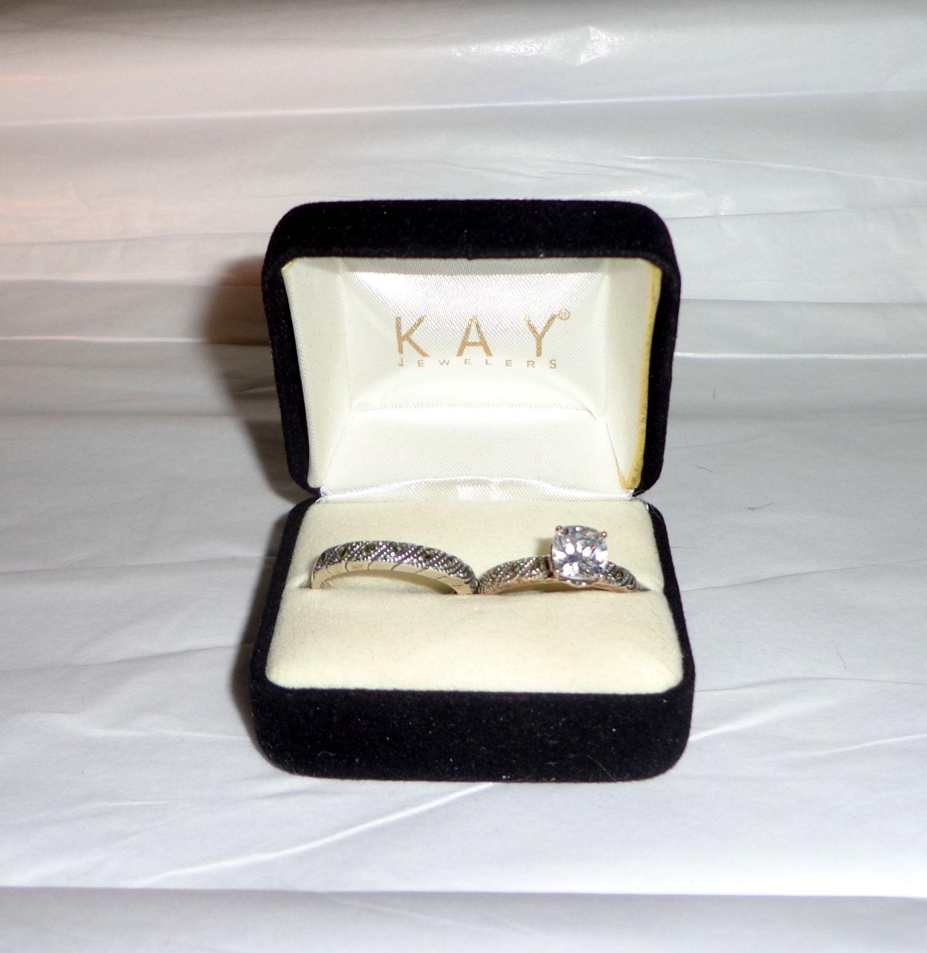 Kay Jewelers Silver 925 Engagement Set Size 7 Ring