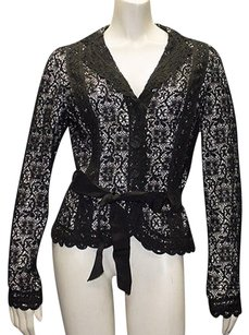 Kay Unger Kay Unger Black Nude Cotton Blend Crochet Lightweight Jacket Hs288