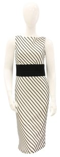 Kay Unger Striped Diagonal Work Sheath Sleeveless Dress