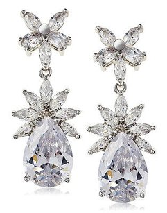 Kenneth Jay Lane Cz By Kenneth Jay Lane Framed Cluster Pear Drop Dazzling Red Carpet Earrings