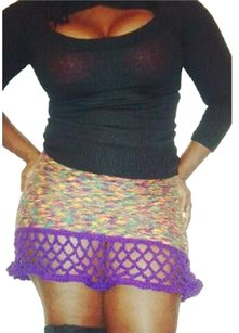 Khosi Clothing & Accessories Mini Crochet Knit Mini Skirt Brown