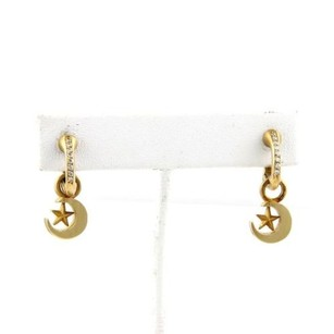 Kieselstein-Cord Kieselstein Cord 18k Gold Crecent Moon Stars Drop Dangle Earrings