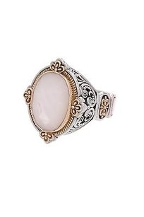Konstantino Konstantino Sterling Silver 18k Gold Mother Of Pearl Selene Ring Size 7
