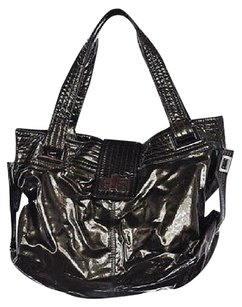 Kooba Womens Pewter Metallic Patent Leather Casual Satchel in Gray