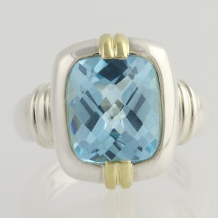 Krementz Krementz Blue Topaz Cocktail Ring - Sterling Silver 18k Yellow Gold 8ct