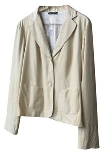 Krizia Italian Leather Soft Leather Off White Leather Jacket