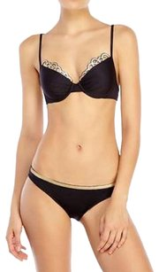 La Perla New $795 LA PERLA Sequin Beachwear Bikini Size 8 Black Gold ITALY