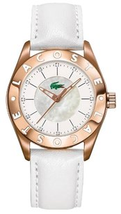 Lacoste Biarritz White Dial White Leather Ladies Watch