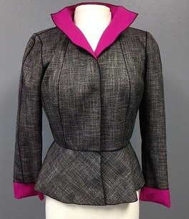 Lafayette 148 New York Lafayette 148 Gray Polyester Long Sleeve Lined Snap Front Blazer Sma 7781