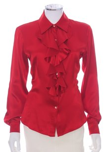 Lafayette 148 New York Ruffled Longsleeve Silk Button Up Holiday Top Red