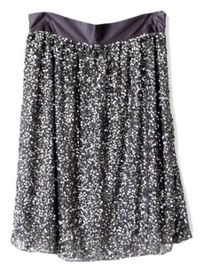 Lafayette 148 New York Silk Sequin Embellished Skirt Grey