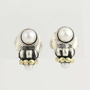 Lagos Lagos Caviar Cultured Pearl Earrings - Sterling Silver 18k Yellow Gold Pierced