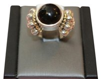 Lagos Lagos Silver and Yellow Gold Onyx Ring