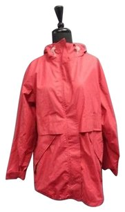 Lands' End Lands Zip Up Rain Red Jacket