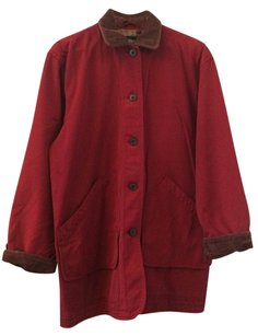 Lands' End Red Burberry Trench Coat Peacoat Jacket
