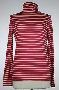 Lands' End Womens Striped Long Sleeve Cotton Blend Neck Top Pink