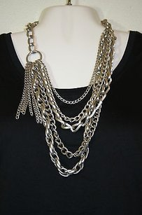 Lane Bryant Lane Bryant Silver Tone Multi Chain Link Chunky Tiered Statement Necklace