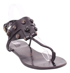 Lanvin Leather Brass Studs And Strass Thong Ankle Strap Flat 388 Black Sandals