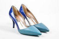 Lanvin Teal Patent Blue Pumps