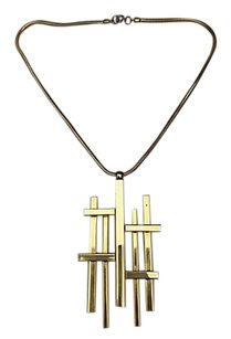 Lanvin Lanvin Runway Couture Gold Tone Abstract LL Logo Oversize Pendant Necklace.