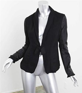 Lanvin Lanvin Womens Black Silk Chiffon Bow Satin Long-sleeve Blazer Jacket Coat 408