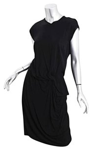 Lanvin Womens Rayon Wool Knit Draped Sheath Dress