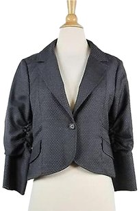 LaROK La Rok Womens Gray White Printed Blazer 34 Sleeve Wool Trousers
