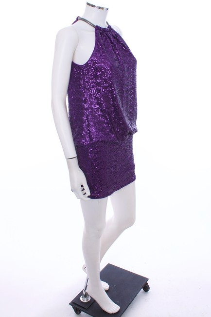 Laundry by Shelli Segal Halter Sequin Mini Metallic Hardware Necklace To Hold Halter Lined Dress