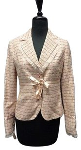 Laundry by Shelli Segal Laundry By Shelli Segal Pink Beige Ribbon Belt Woven Blazer Sma10733
