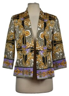 Laundry by Shelli Segal Laundry Shelli Segal Womens Black Gold Blazer Printed Career Wtw Jacket