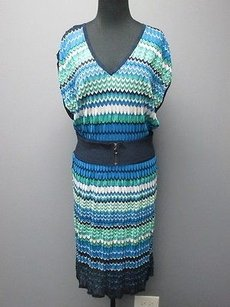 Laundry by Shelli Segal short dress blue/green/white Bue Green Metallic Sleeveless Lined 2149 on Tradesy