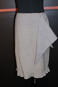 Laundry by Shelli Segal Black And White With Scarf Checkered Skirt Multi-Color