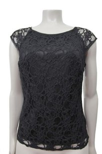 Laundry by Shelli Segal Floral Lace Top Black