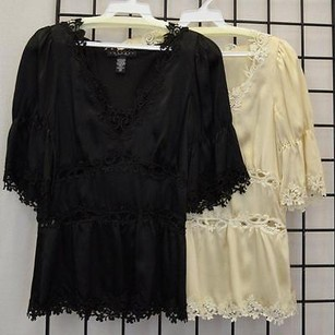 Laundry by Shelli Segal Set Of Black Cream Silk Embrodered 90319jr Top Multi-Color