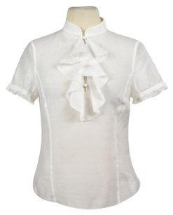 Laundry by Shelli Segal Womens Casual Short Sleeve Shirt Top White