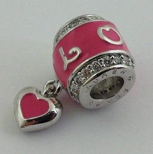 Lauren G Adams Lauren G Adams Rhodium Enamel Love Pave Heart Charm Bead Fits All Brnd
