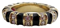 Lauren G Adams Lauren G Adams Stackable Gold Strip Tease Black Ring R-63502g